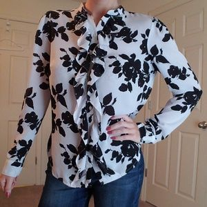 Worthington Black/White Floral & Ruffles Blouse